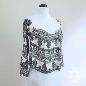Boho Black and White Print Top XS